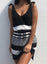 Black Women's Dress Striped Tie Front Mini Dress LC225941-2