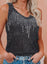 Black Women's Tank Tops Solid Rhinestone Tank Tops LC2561882-2