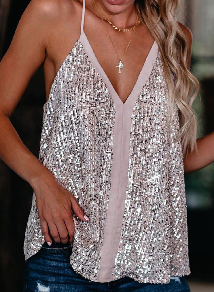 Silver Women's Tank Tops Sequined Sling Top LC2561928-13