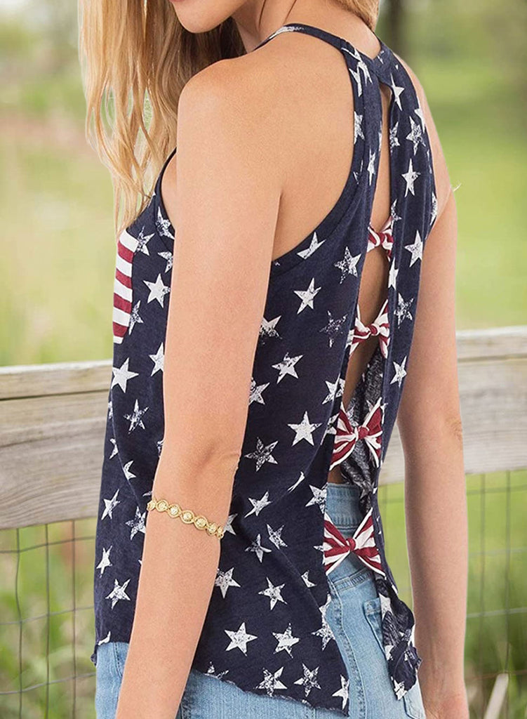 Blue Women's Tank Tops Flag Back Hollowed Top LC2561939-5