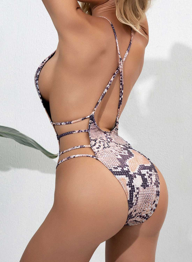 Nude Women's Swimsuits Animal Print Open-back Strappy One-piece Swimsuits LC441425-21
