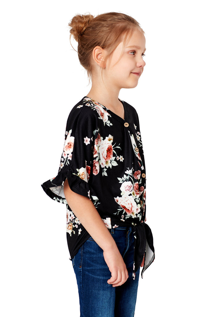 Floral Print Button Up Toddler Tunic