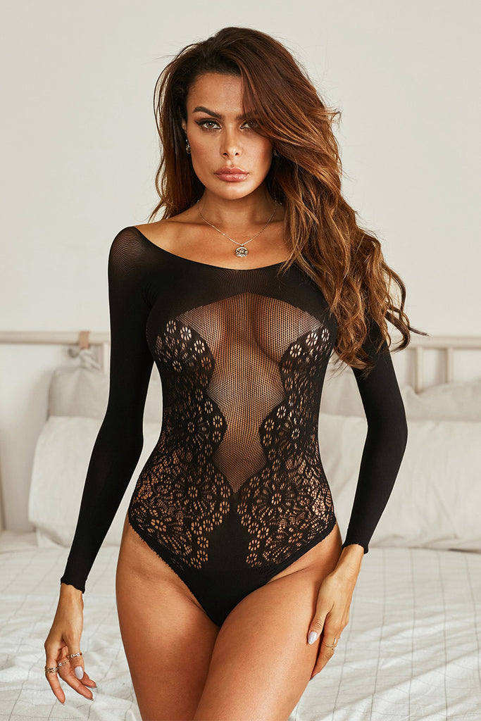 Long Sleeve Lace Mesh Bodysuit