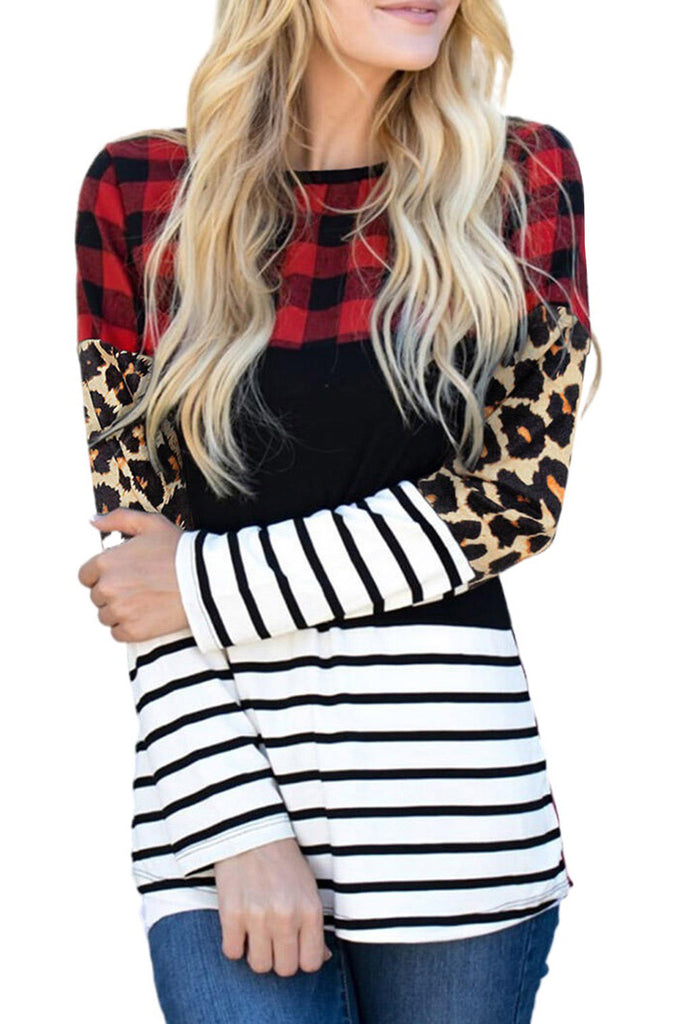 Buffalo Plaid Striped Splicing Blouse