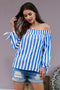 Blue And White Striped Off The Shoulder Top with Bowknot on Sleeves