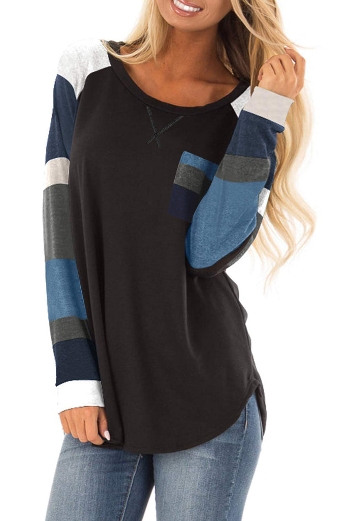 Color Block Striped Pocket Long Sleeve Top