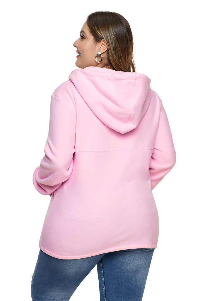 Zip Neck Drawstring Plus Size Hoodie