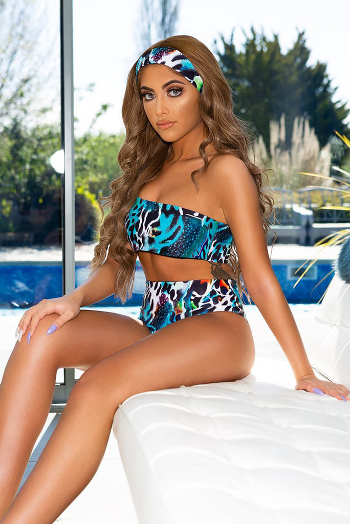 Graphic One Shoulder Bathing Suits with Headband