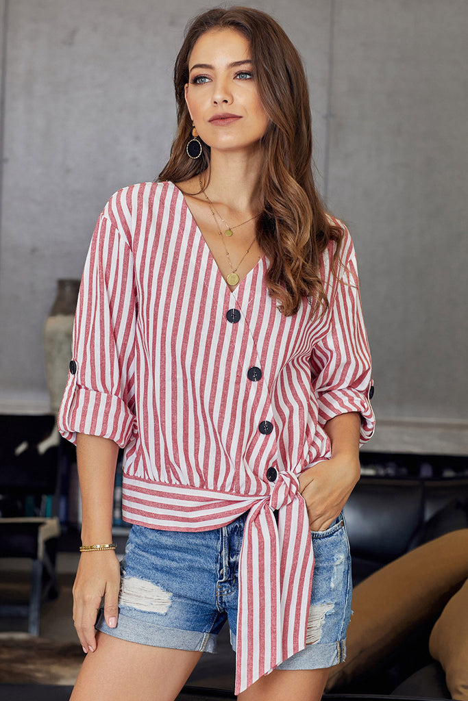 Women's Wrap Button Down Red And White Stripe Shirt