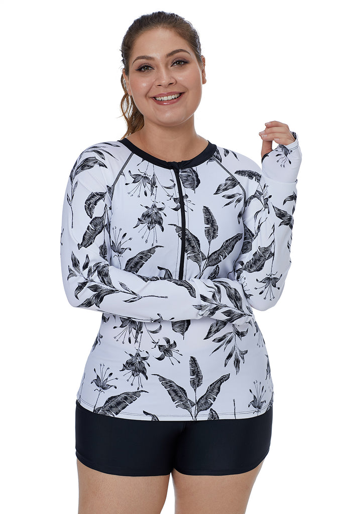 Tropical Sketch Long-Sleeve Zipper-Front Swim Top