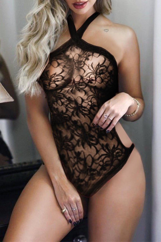 Halter Neck Backless Strappy Lace Teddy
