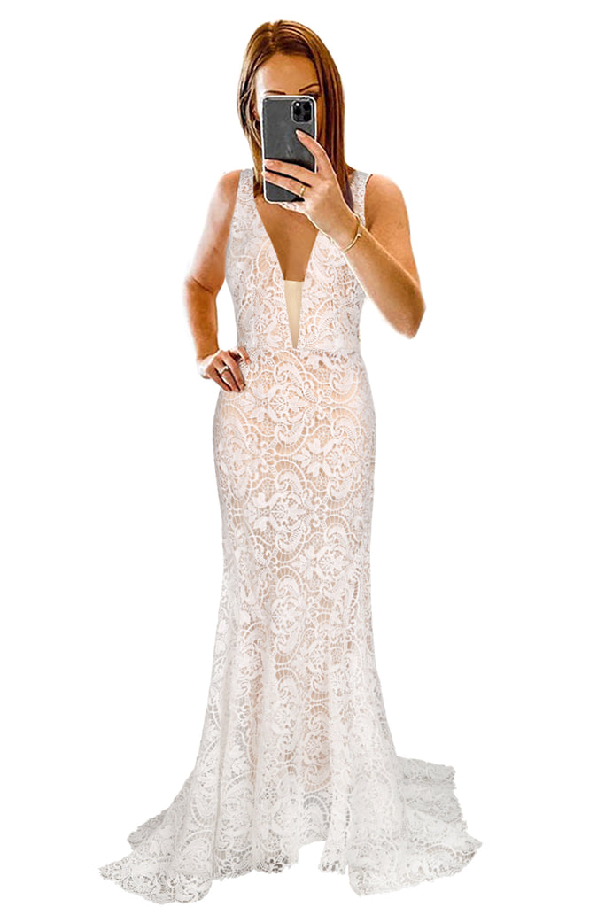 V-neck Backless Lace Wedding Sweeping Floor Evening Dress