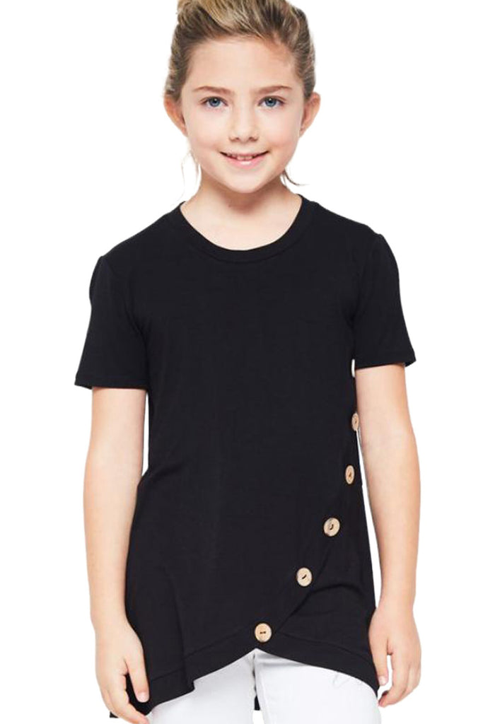 Rosy Buttoned Arched Hem Girls T-shirt