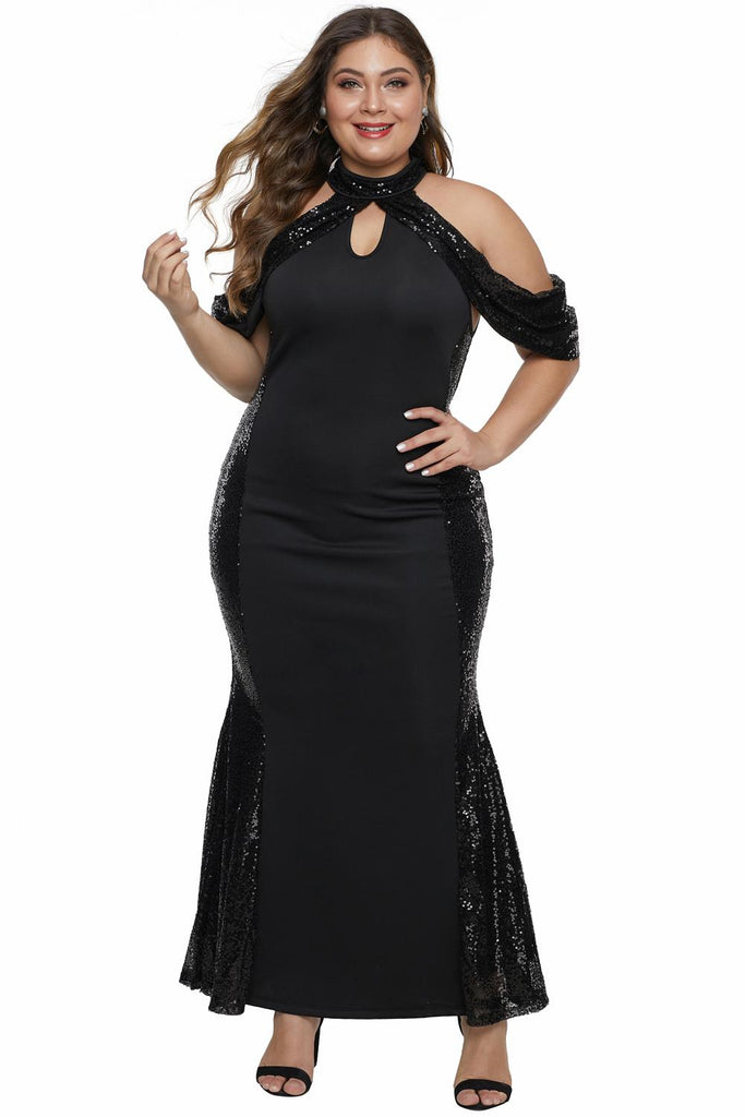 High Neck Drop Shoulder Sequin Décor Plus Size Gown
