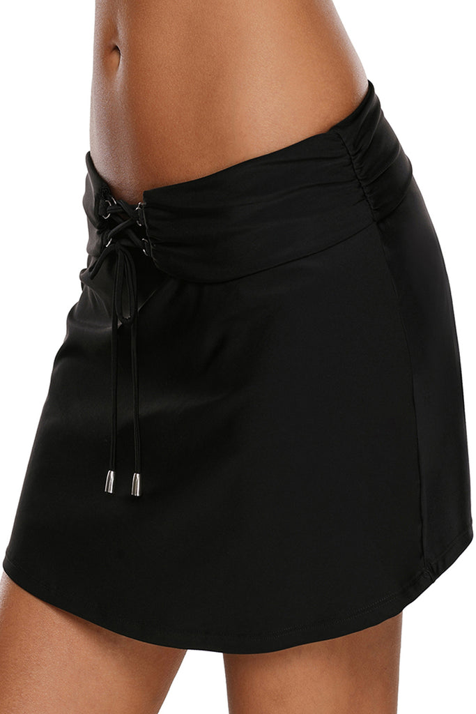Lace Up O-ring Detail Black Active Skirted Swim Bottom