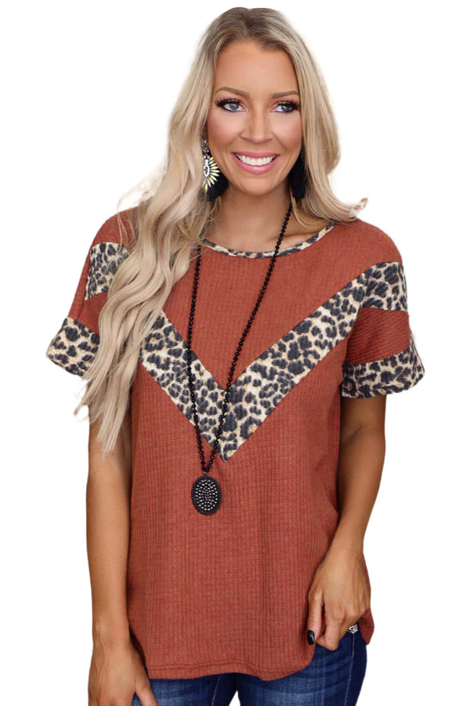 Leopard Splicing Waffle Knit Short Sleeve Tee