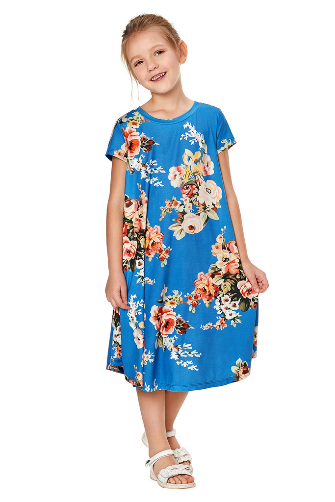 Short Sleeve Floral Print Toddler Dress