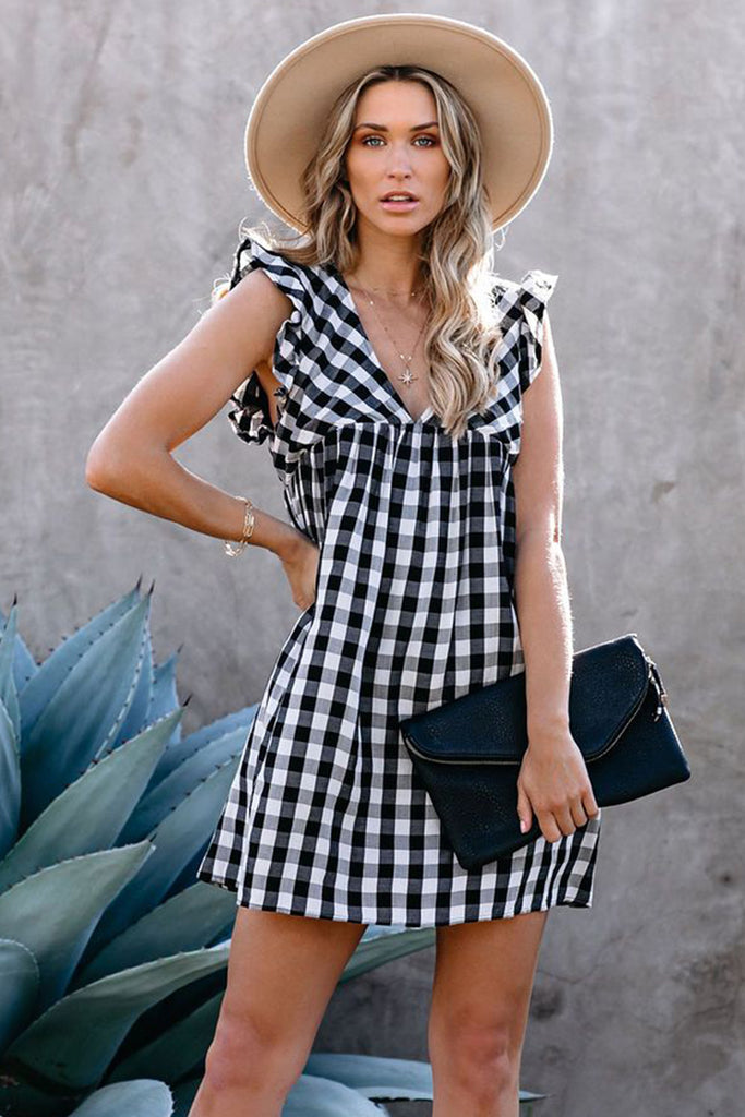 Plaid Ruffle V Neck Pocketed Babydoll Mini Dress