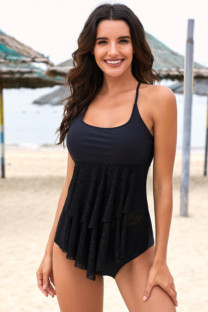 Halter U Neck Ruffled Layered Tankini Swimsuit