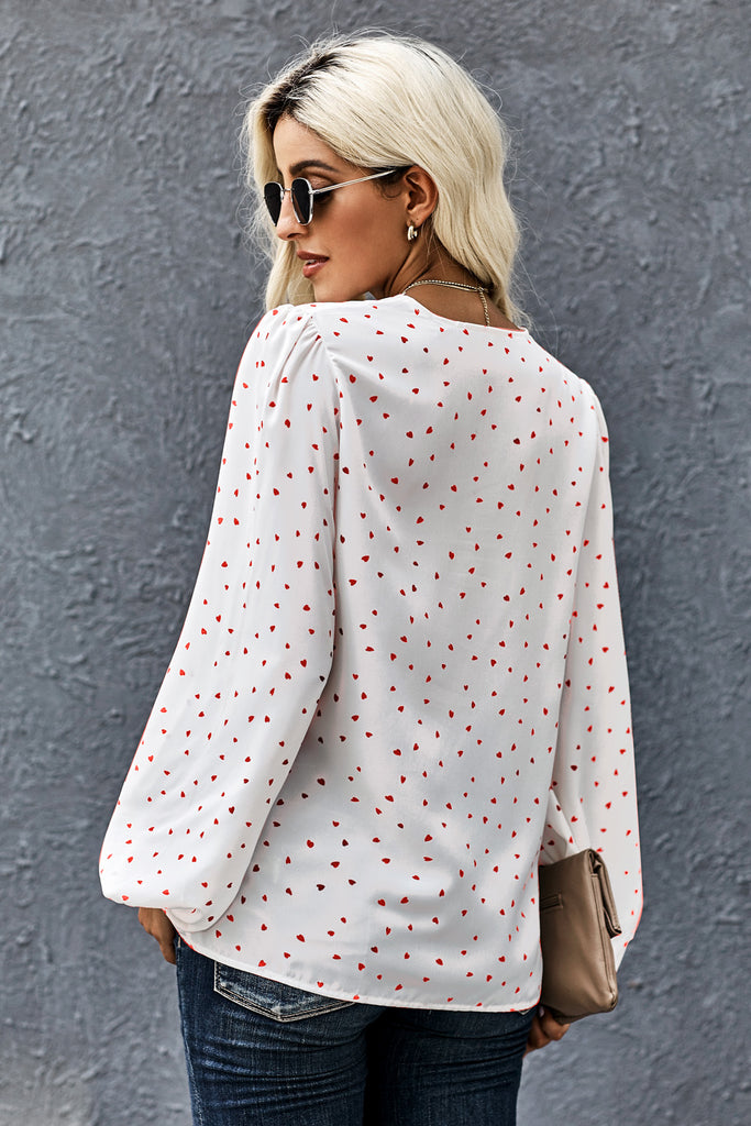 Love You Boo Balloon Sleeve Blouse