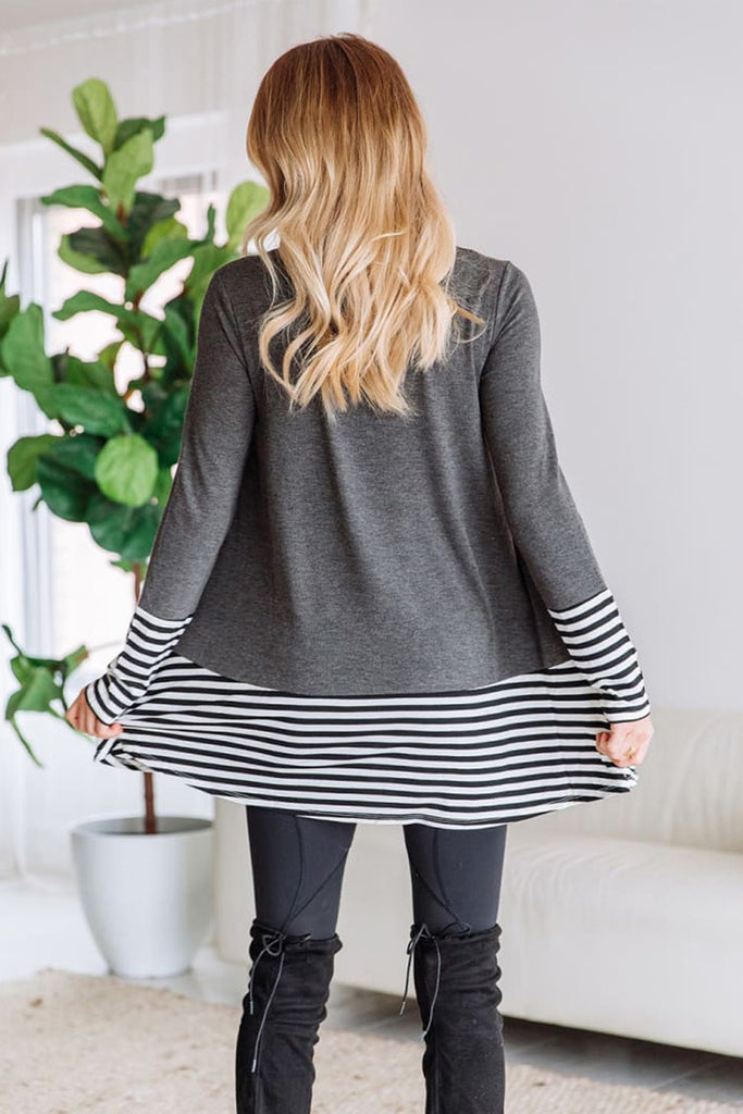 Striped Patchwork Gray Tunic Top