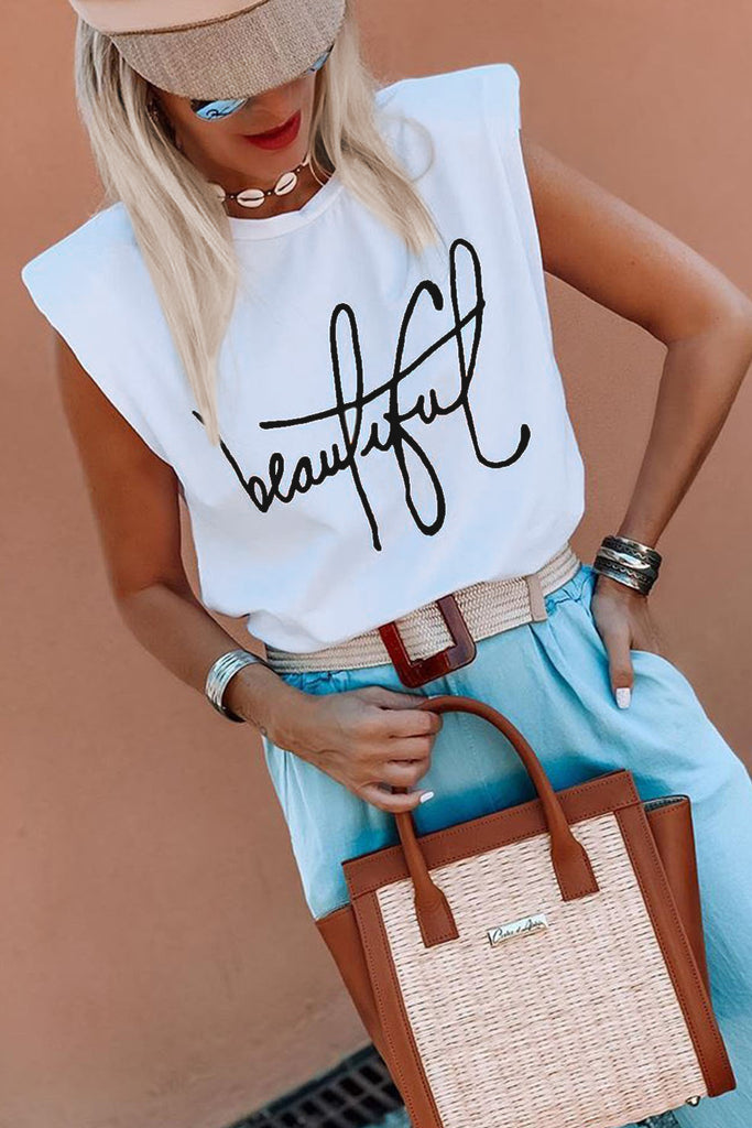 Padded Shoulder Letter Print Tank Top