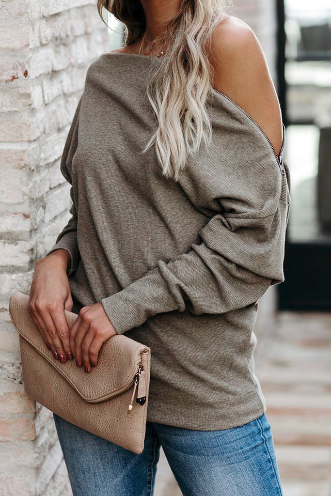 Ribbed Zip Knit Top