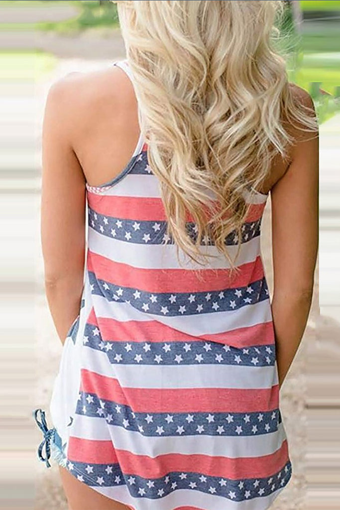 Independence Day Star Print Tank Top