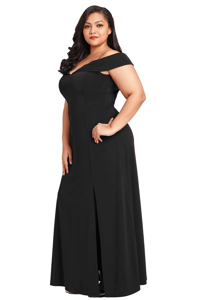 Long Off the Shoulder Plus Size Gown