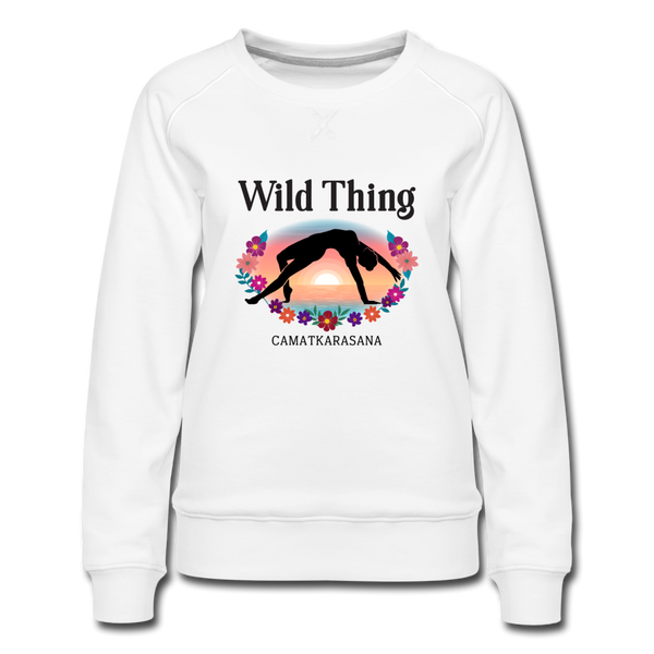 Wild Thing Yoga Pose Women's Premium Sweatshirt - white