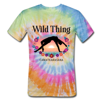 Wild Thing Yoga Pose Tie Dyed T-Shirt - rainbow