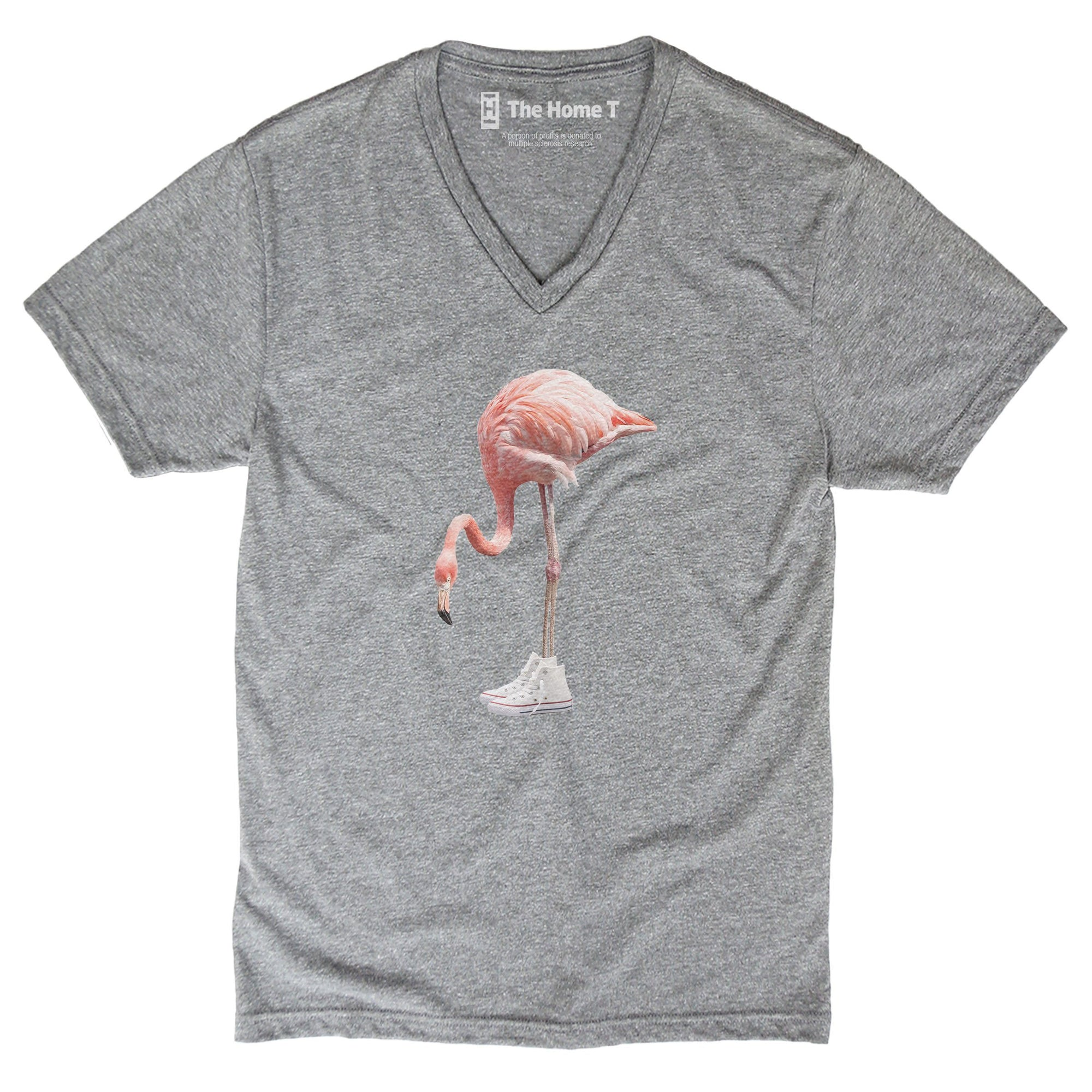 Flamingo in kicks athletic grey crewneck