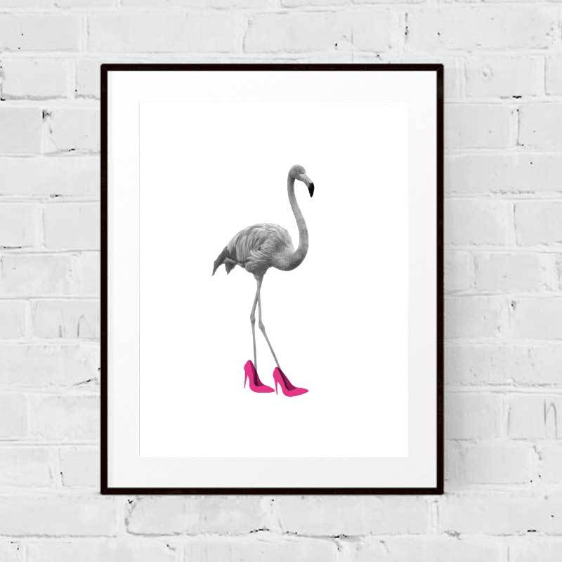 Flamingo In Heels Art Print
