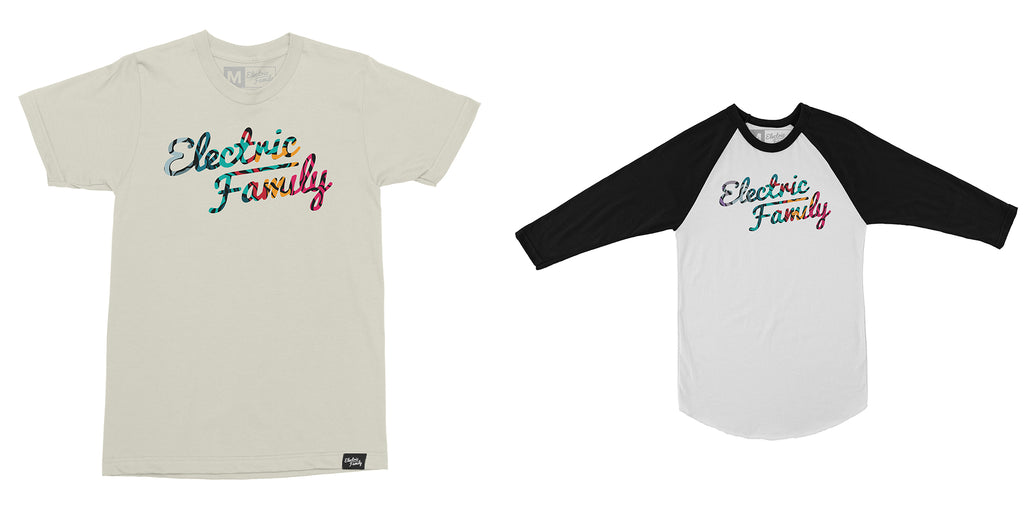 Script Marble tee and raglan