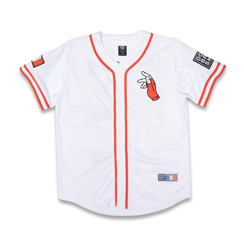 EF x Dombresky Baseball Jersey - White - Baseball Jersey -  Electric Family-  Electric Family Official Artist Merchandise