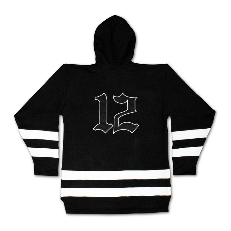 Old English Family Hockey Hoodie - Black