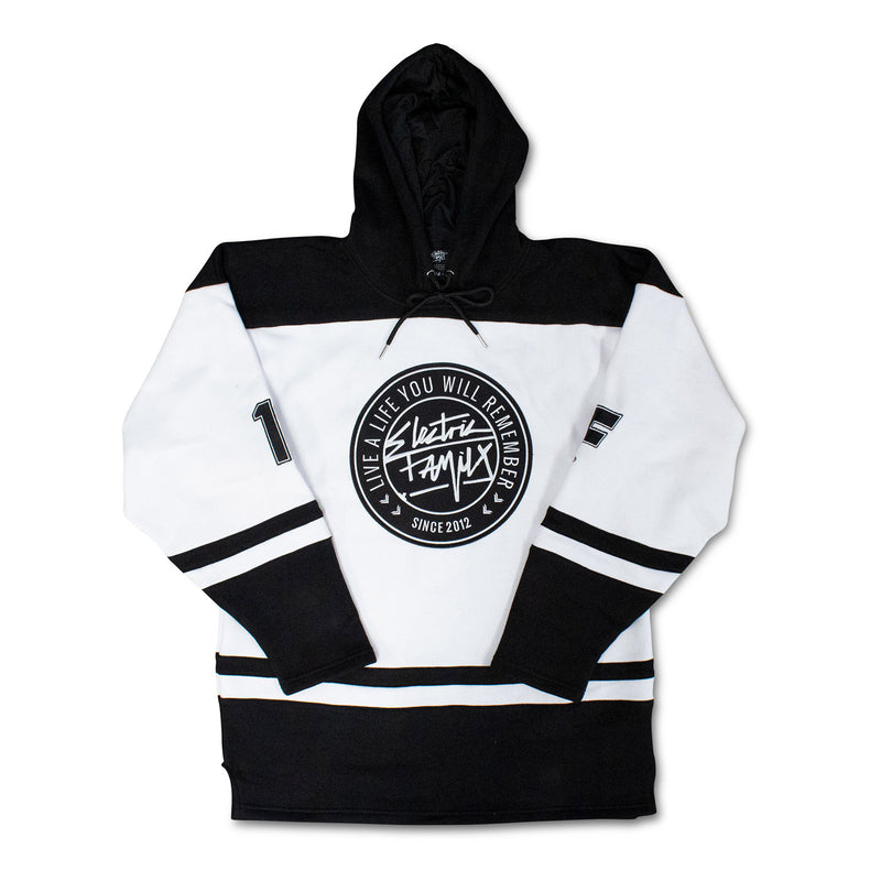 Live Hockey Hoodie - White - Hockey Jersey - Electric Family Official Artist Merchandise
