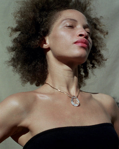 Tiana Marie Combes Classic Transparency Pendant, on model.