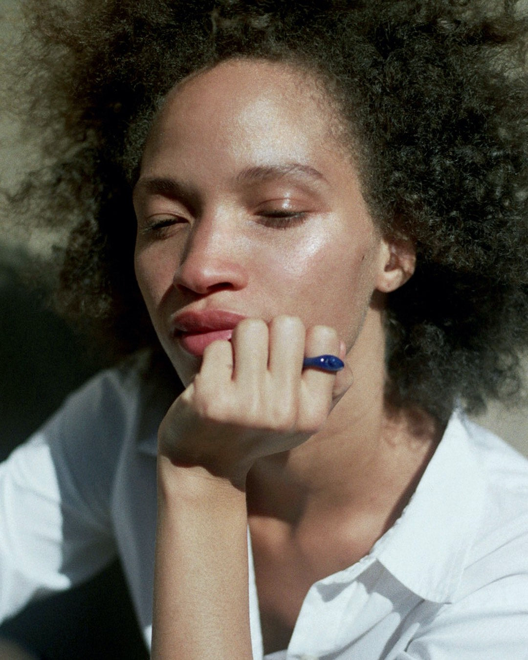 Tiana Marie Combes Roman Ring in Lapis, on model.