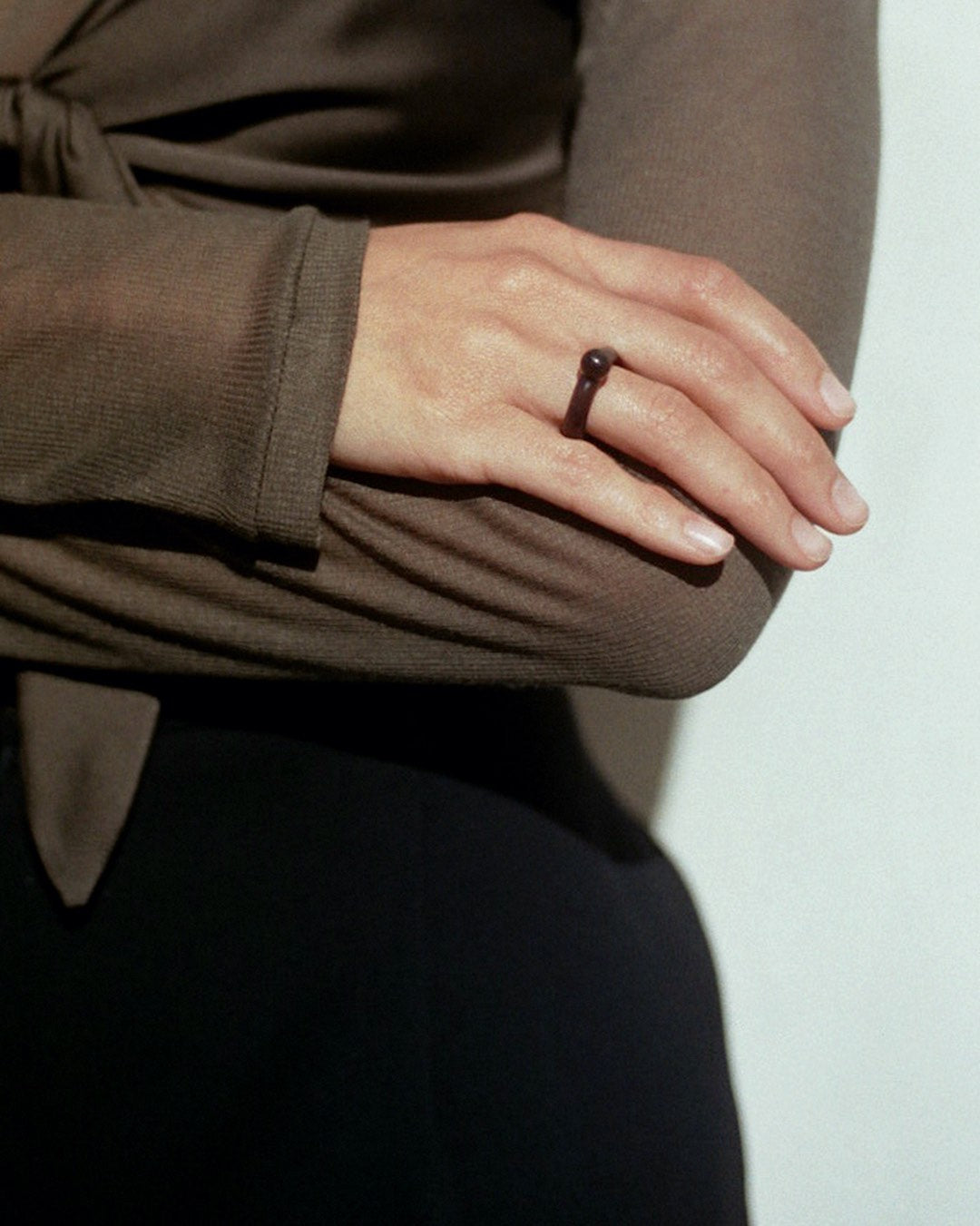 Tiana Marie Combes Sicilia Ring in Sorrel, on model.