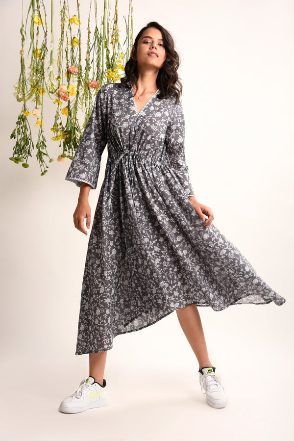 Steel Grey Floral Dress - Floral Collection -DreamSS by Shilpa Shetty