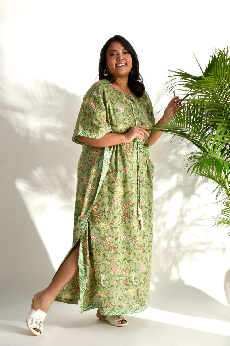 Floral Long Kaftan - Forest Green - Floral Collection -DreamSS by Shilpa Shetty
