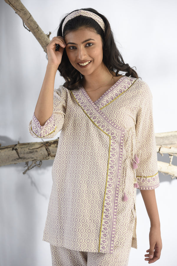 Lilac Ethnic Wrap top and Pyjama set - Ethnic Collection -DreamSS by Shilpa Shetty