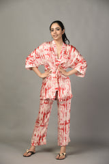 Tie & Dye Pyjama and Kimono Set - Romantic Red - Tie and Dye Collection -DreamSS by Shilpa Shetty