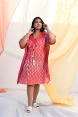 Vibrant Mid Length Kaftan - Crimson Red - Vibrant Collection -DreamSS by Shilpa Shetty