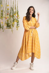 Asymmetrical Checkered Midi Dress - Sunshine Yellow - Floral Collection -DreamSS by Shilpa Shetty