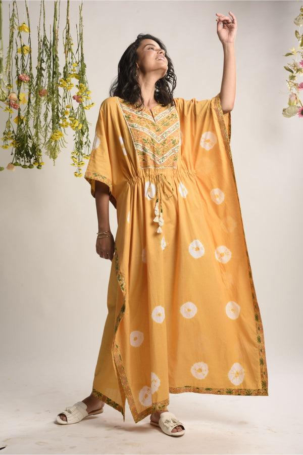 Caramel Mustard Tie & Dye Kaftan Dress - Tie and Dye Collection -DreamSS by Shilpa Shetty
