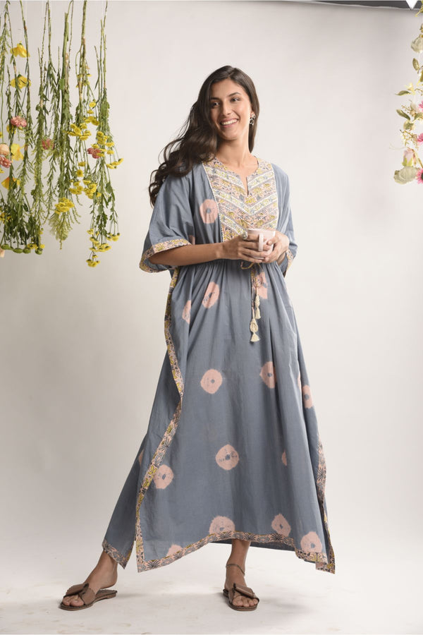 Ash Grey Tie & Dye Kaftan Dress - Tie and Dye Collection -DreamSS by Shilpa Shetty