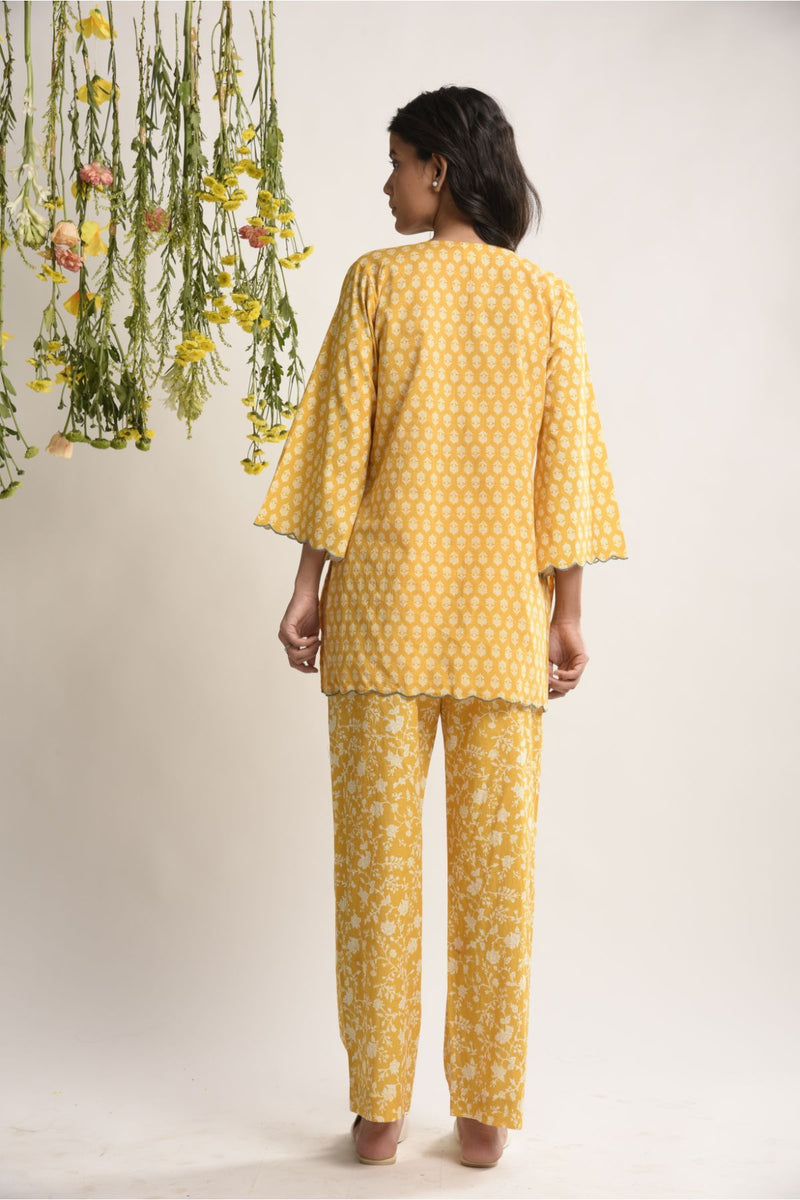 Print on Print Sunshine Yellow Lounge Set - Floral Collection -DreamSS by Shilpa Shetty