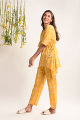 Printed Asymmetrical short Kurta and Pyjama Set - Sunshine Yellow - Floral Collection -DreamSS by Shilpa Shetty